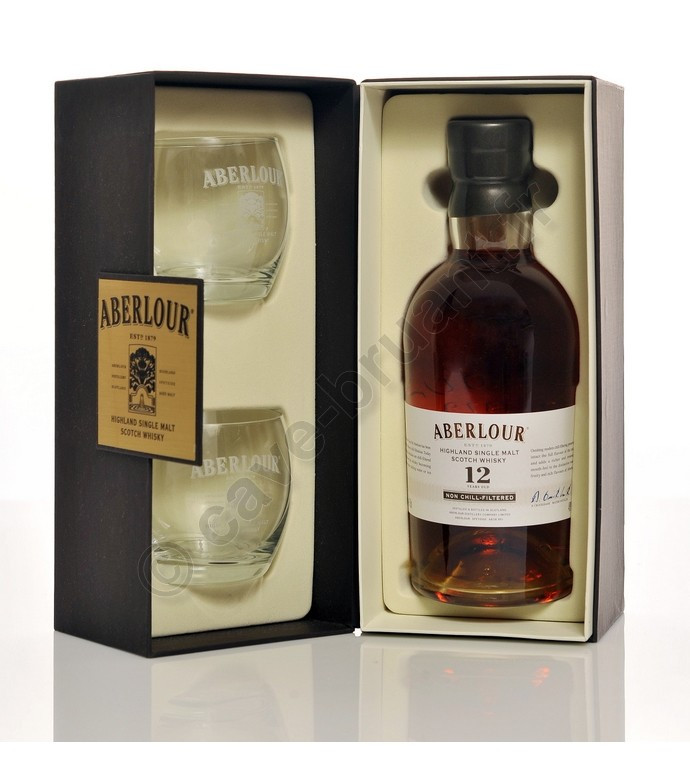 coffret whisky aberlour 12 ans non chill filtered highland single malt avec 2 verres. Black Bedroom Furniture Sets. Home Design Ideas